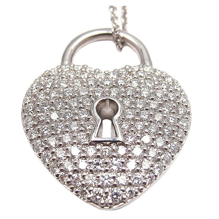 f8aa9fc6c TIFFANY and CO Diamond Heart Lock Pendant Platinum Necklace at 1stdibs