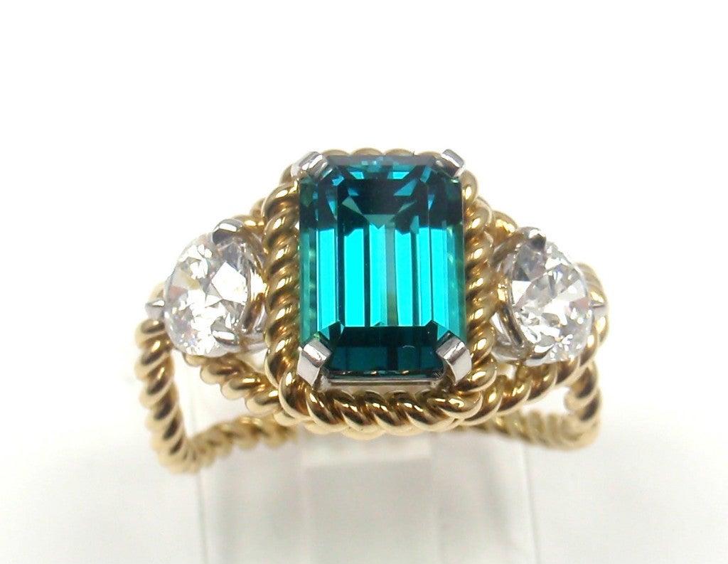 TIFFANY & CO JEAN SCHLUMBERGER Diamond Blue Tourmaline Ring 10