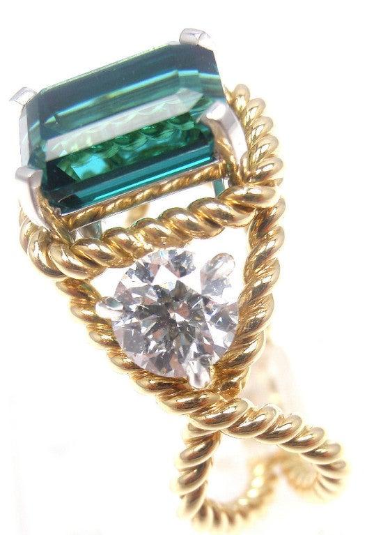 TIFFANY & CO JEAN SCHLUMBERGER Diamond Blue Tourmaline Ring 2