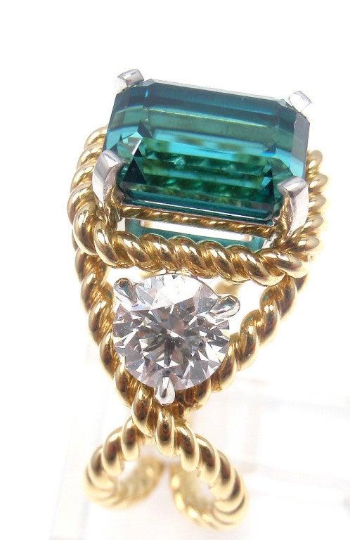 TIFFANY & CO JEAN SCHLUMBERGER Diamond Blue Tourmaline Ring 4