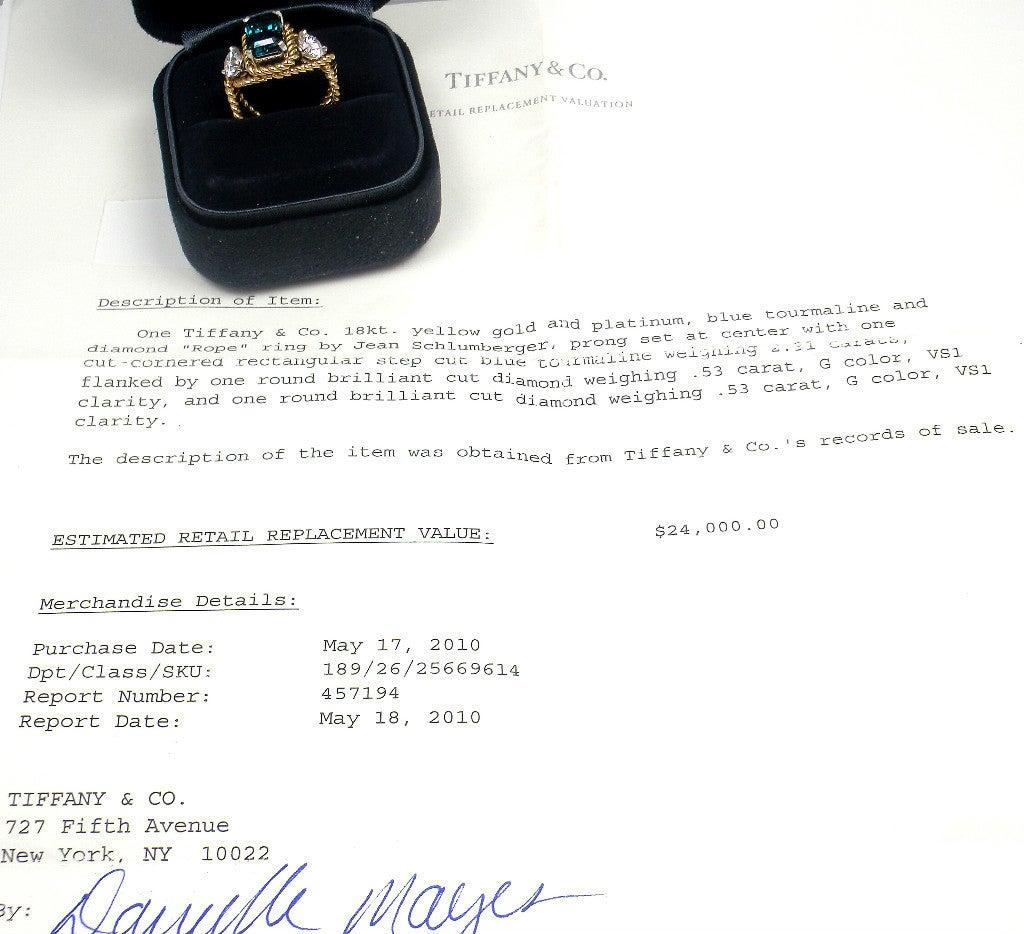 TIFFANY & CO JEAN SCHLUMBERGER Diamond Blue Tourmaline Ring 6