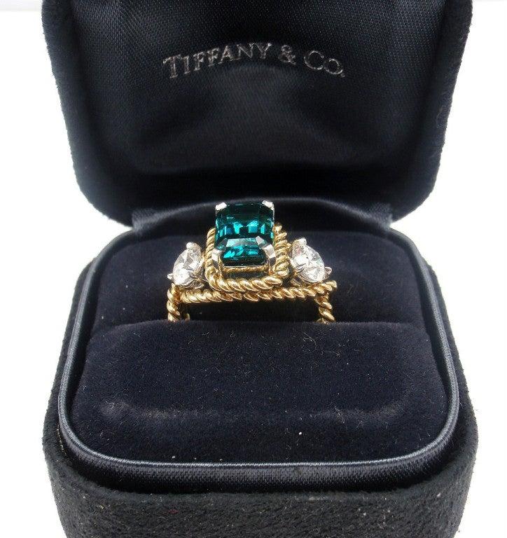 TIFFANY & CO JEAN SCHLUMBERGER Diamond Blue Tourmaline Ring 7