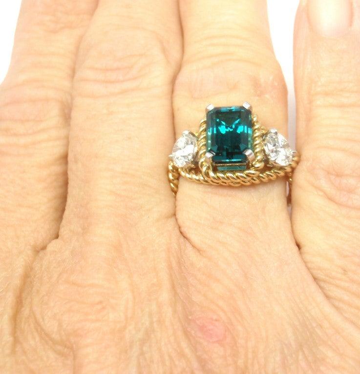 TIFFANY & CO JEAN SCHLUMBERGER Diamond Blue Tourmaline Ring 8