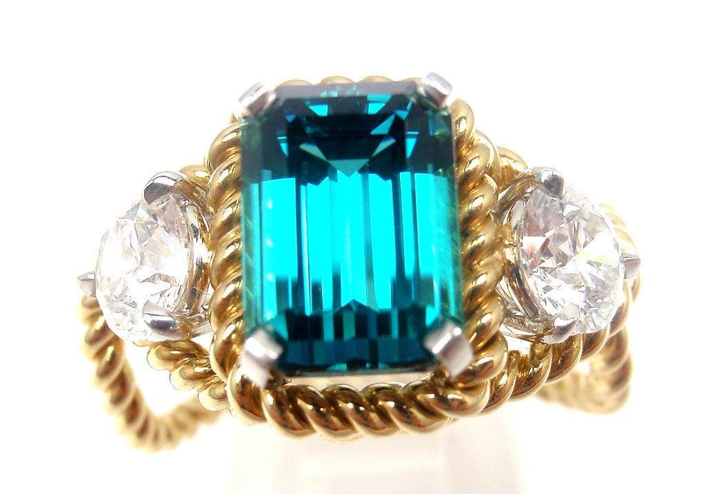 TIFFANY & CO JEAN SCHLUMBERGER Diamond Blue Tourmaline Ring 9