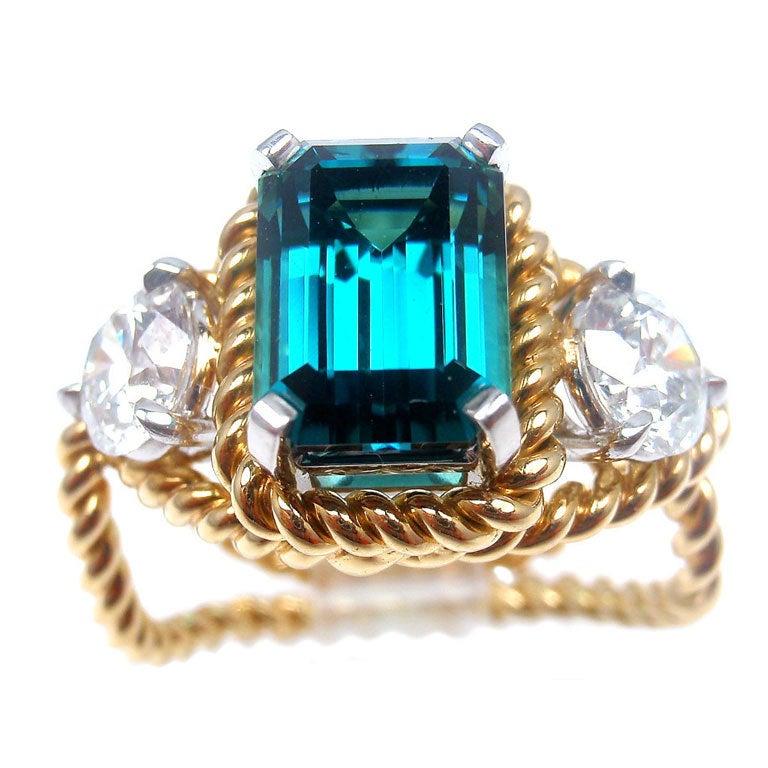 TIFFANY & CO JEAN SCHLUMBERGER Diamond Blue Tourmaline Ring 1