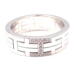 """HERMES Diamond """"H"""" White Gold Ring"""
