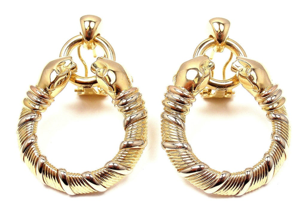 CARTIER Panther Tri-Colored Gold Earrings 2