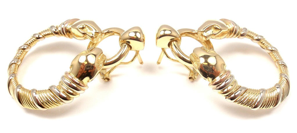 CARTIER Panther Tri-Colored Gold Earrings 3