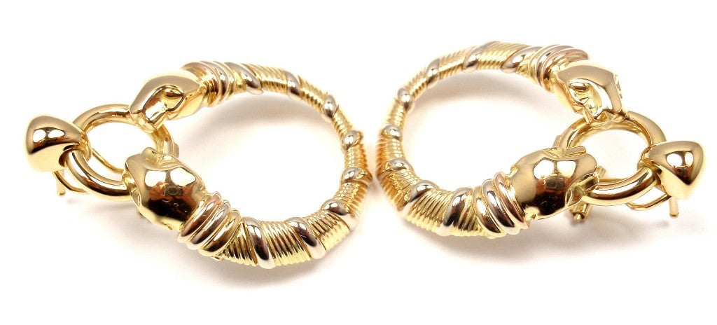 CARTIER Panther Tri-Colored Gold Earrings 4