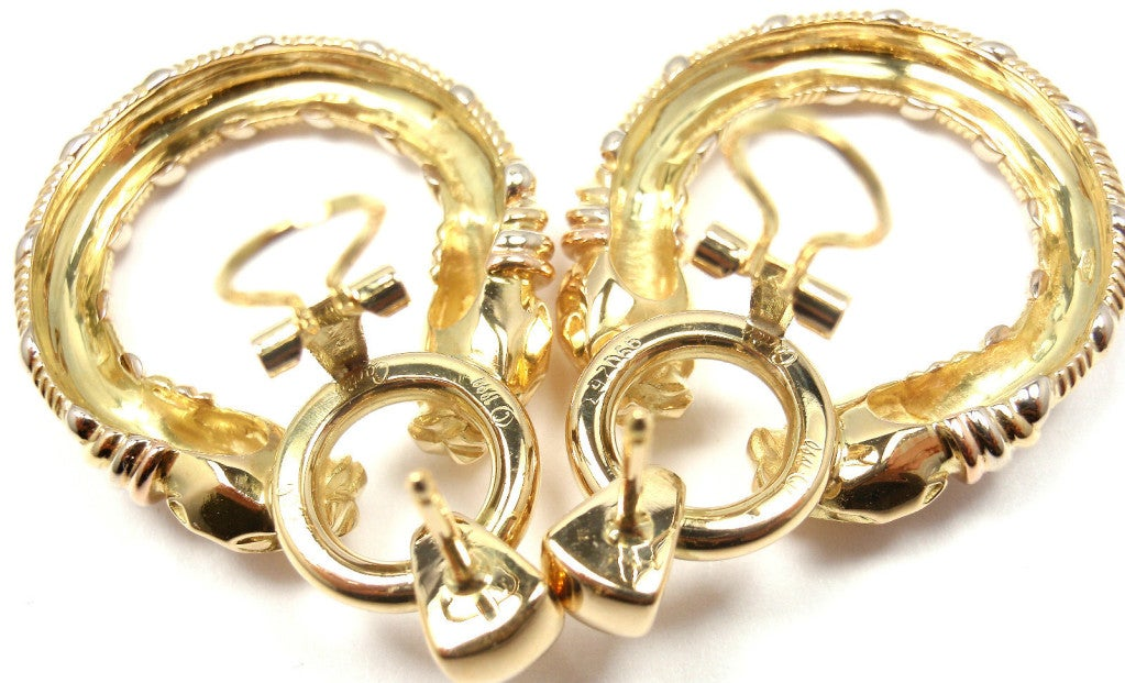 CARTIER Panther Tri-Colored Gold Earrings 7