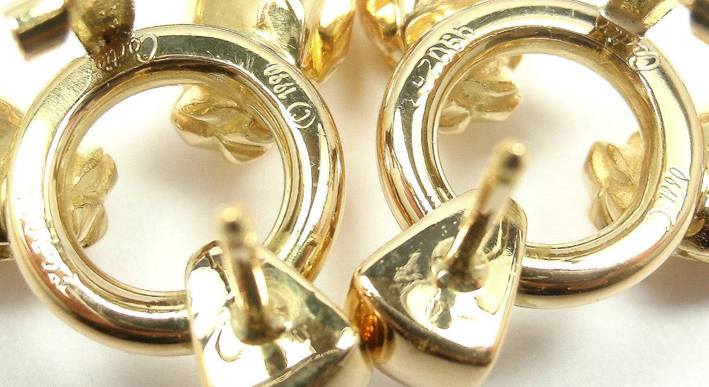 CARTIER Panther Tri-Colored Gold Earrings 8