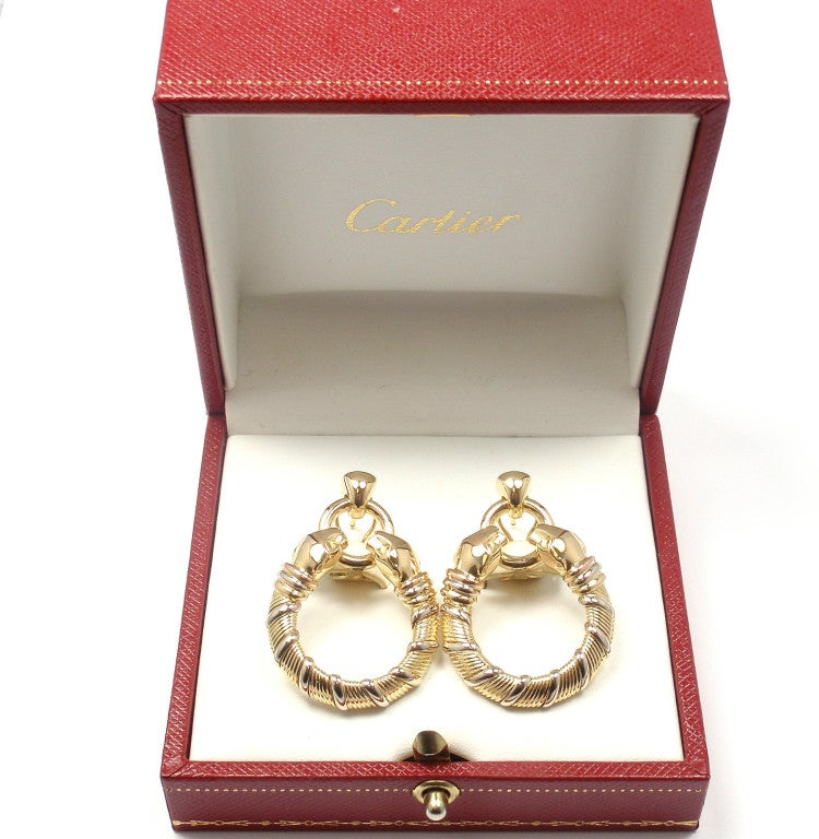 CARTIER Panther Tri-Colored Gold Earrings 9