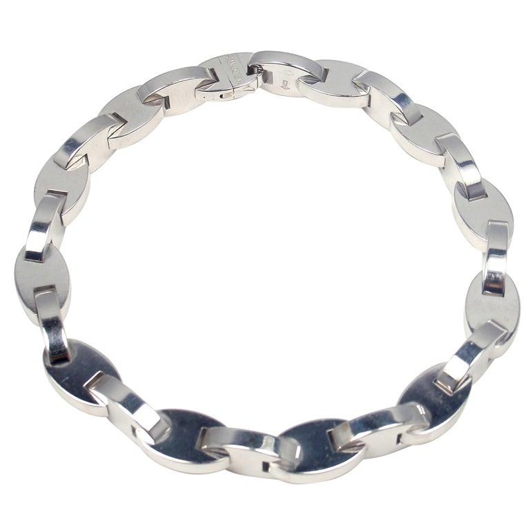 HERMES White Gold Link Bracelet