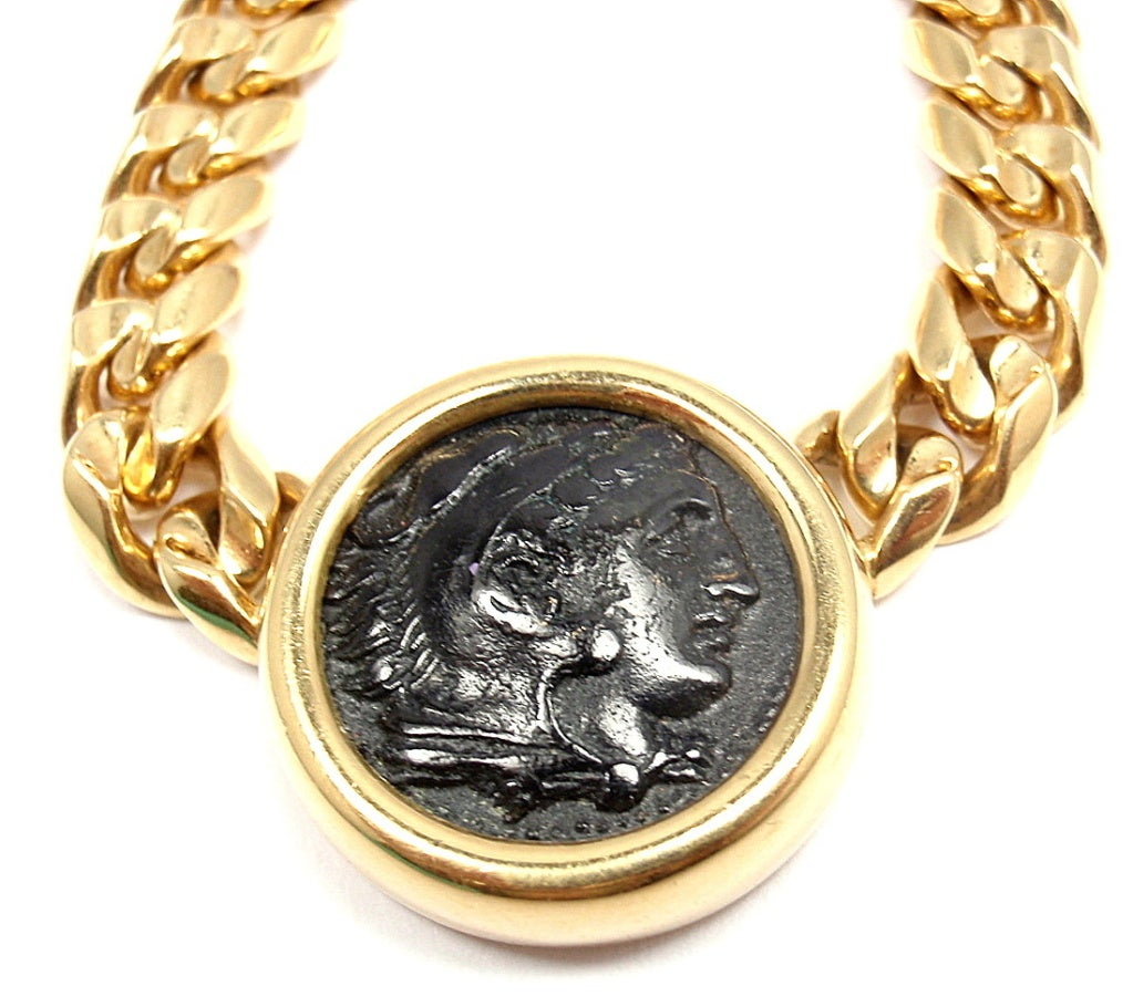 bugari ancient coin link yellow gold necklace at 1stdibs