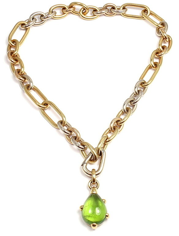 POMELLATO Green Tourmaline Tri-Color Gold Link Necklace image 2