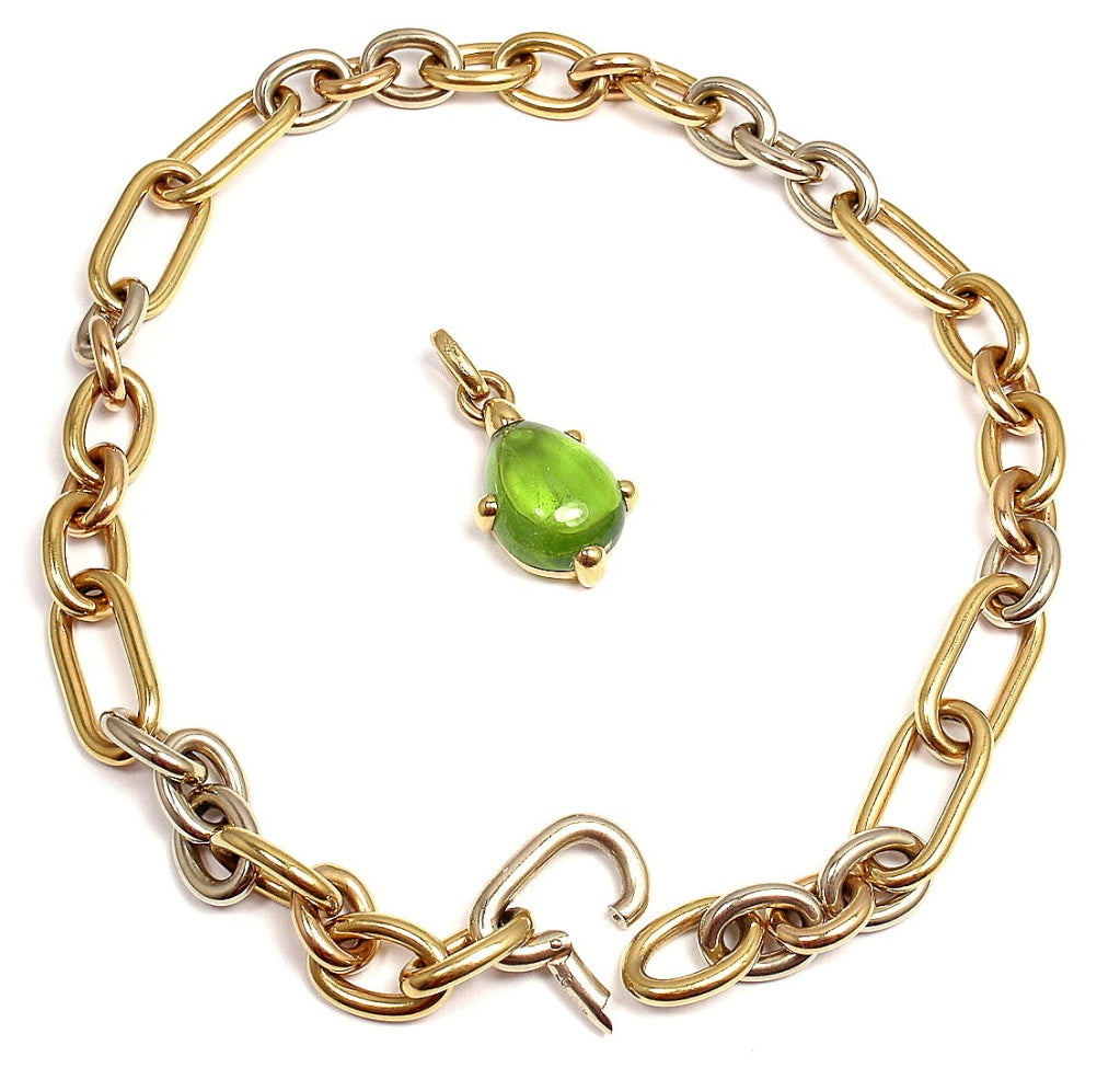 POMELLATO Green Tourmaline Tri-Color Gold Link Necklace image 4