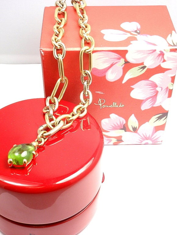POMELLATO Green Tourmaline Tri-Color Gold Link Necklace image 5