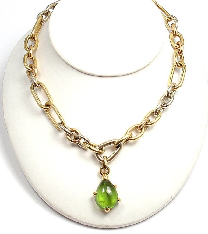 POMELLATO Green Tourmaline Tri-Color Gold Link Necklace image 6