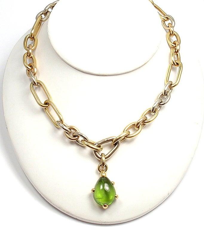 POMELLATO Green Tourmaline Tri-Color Gold Link Necklace image 6