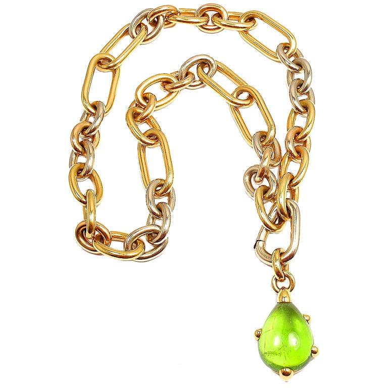 POMELLATO Green Tourmaline Tri-Color Gold Link Necklace