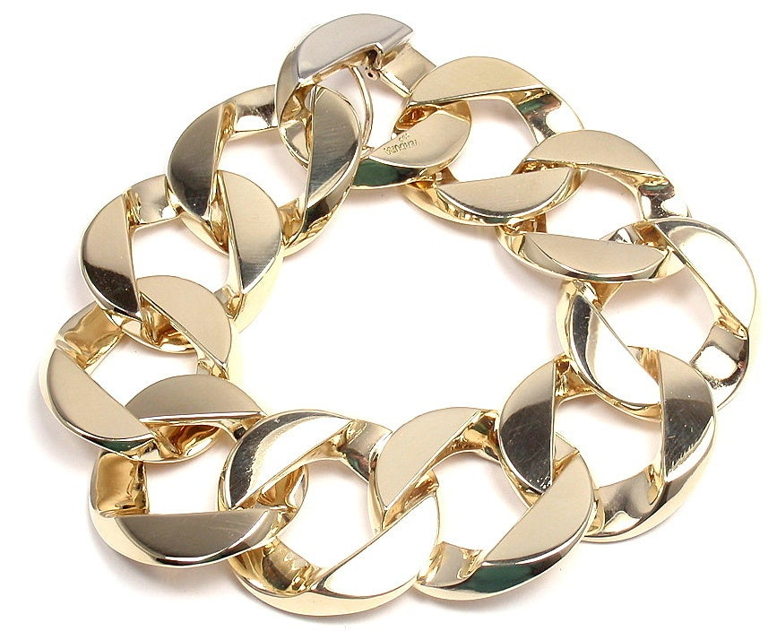 VERDURA Extra Large Heavy Curb-Link Yellow Gold Bracelet 2