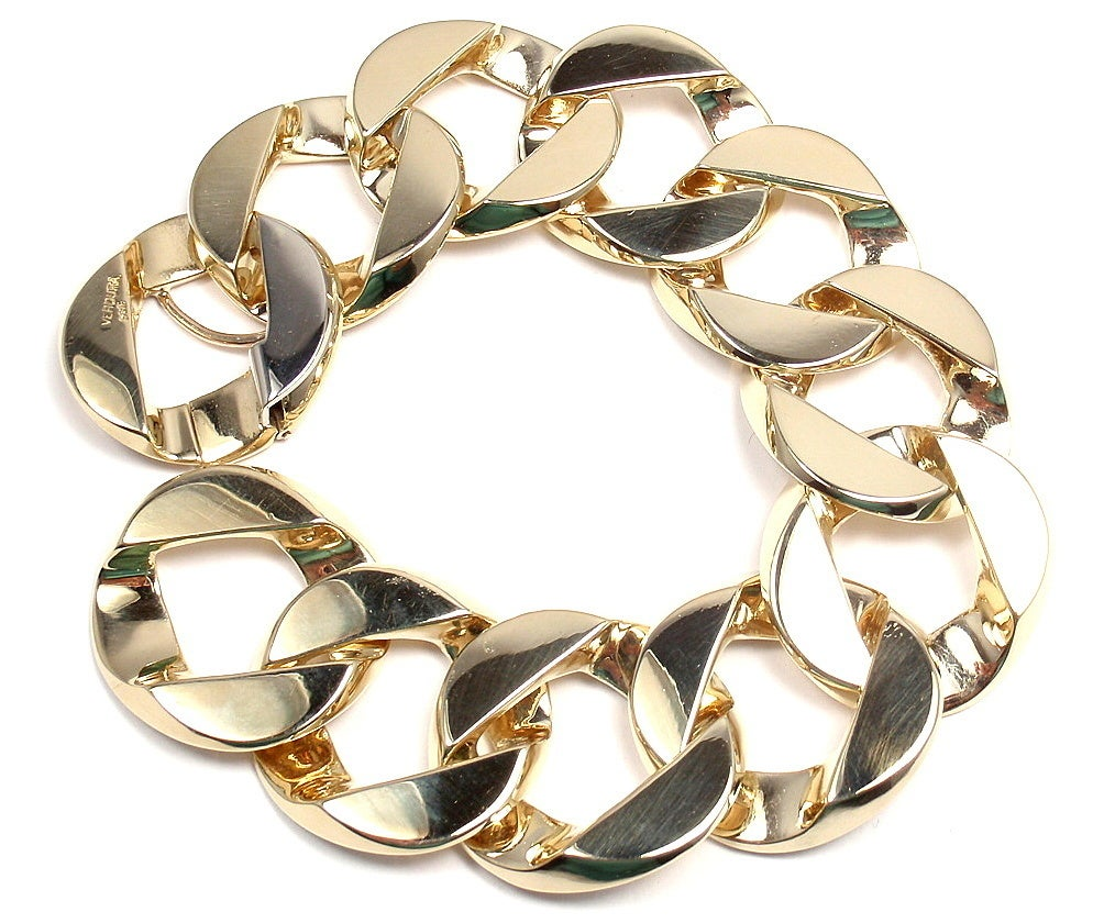 VERDURA Extra Large Heavy Curb-Link Yellow Gold Bracelet 3