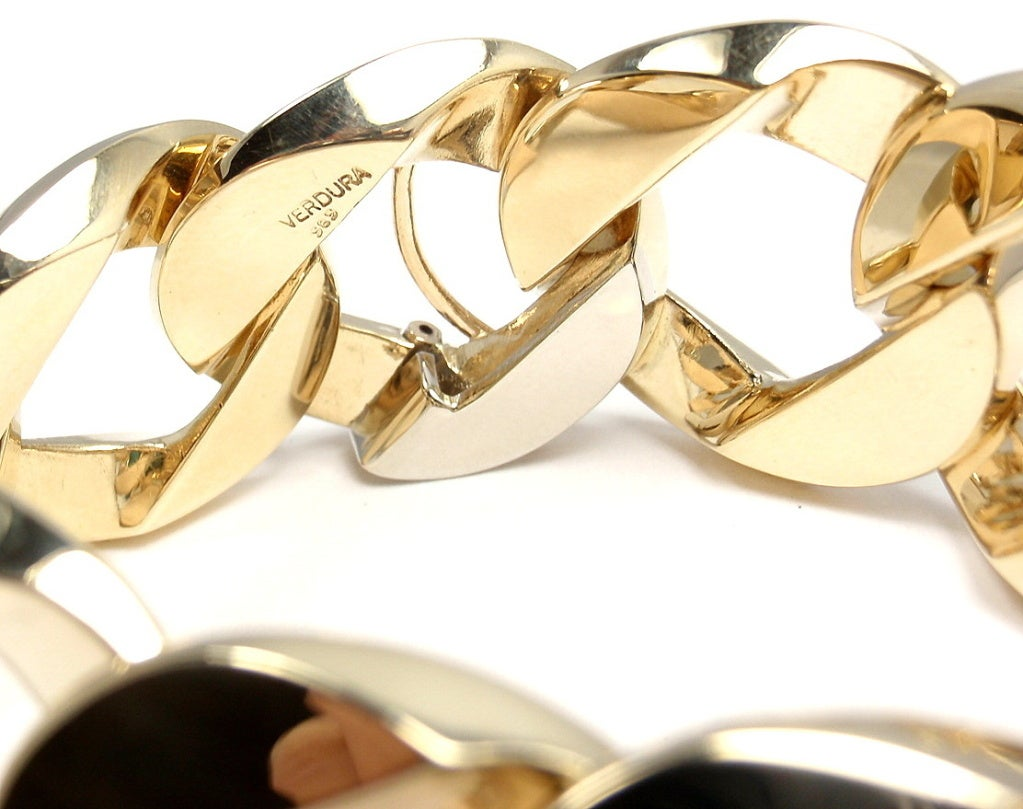 VERDURA Extra Large Heavy Curb-Link Yellow Gold Bracelet 4
