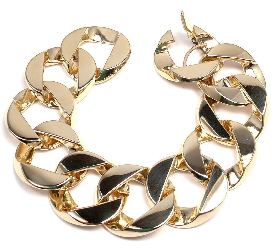 VERDURA Extra Large Heavy Curb-Link Yellow Gold Bracelet 6