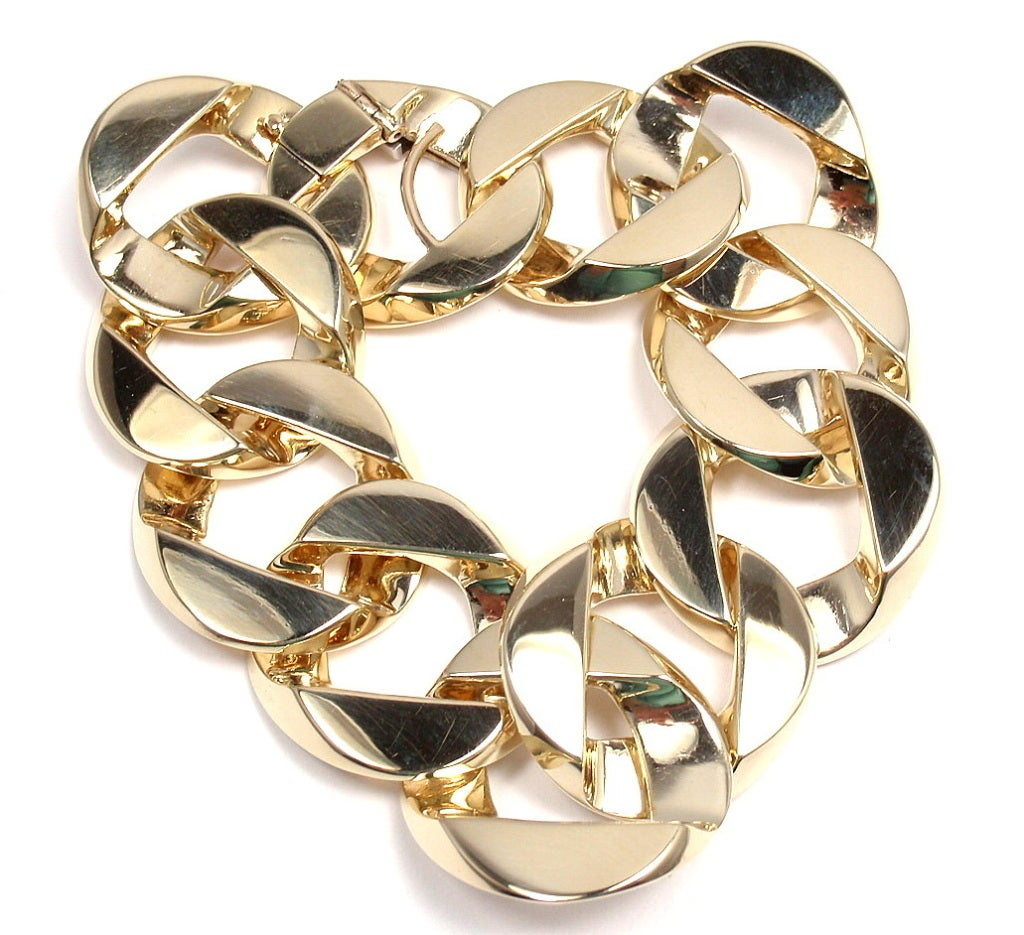 VERDURA Extra Large Heavy Curb-Link Yellow Gold Bracelet 7