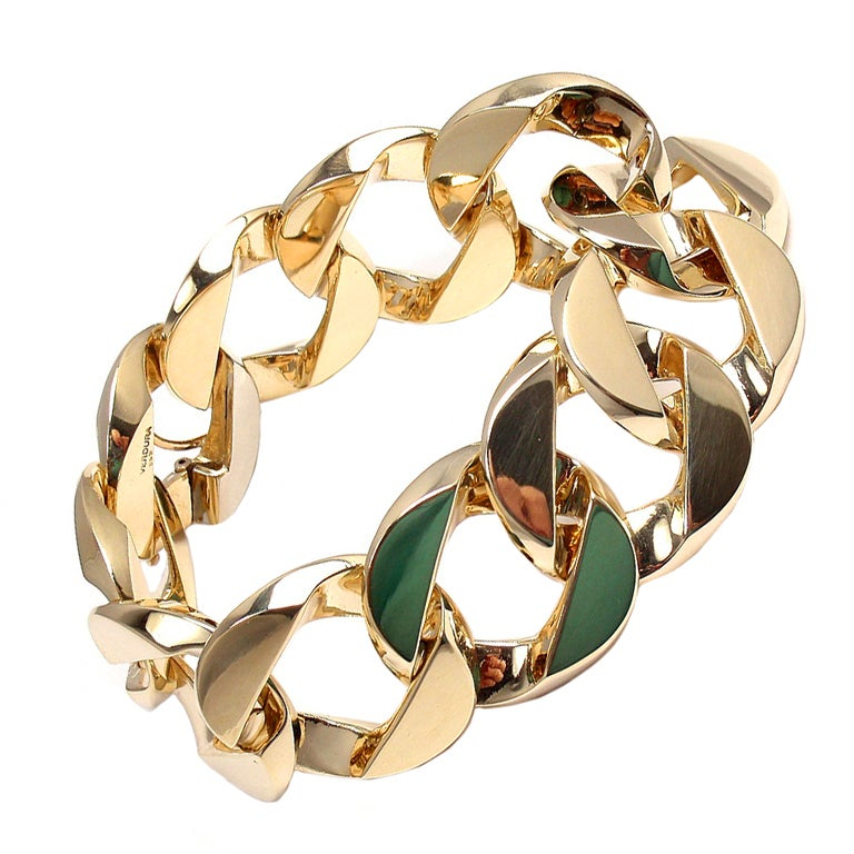 VERDURA Extra Large Heavy Curb-Link Yellow Gold Bracelet 1
