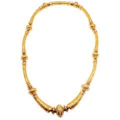 SEIDEN GANG Diamond Laurel Yellow Gold Necklace