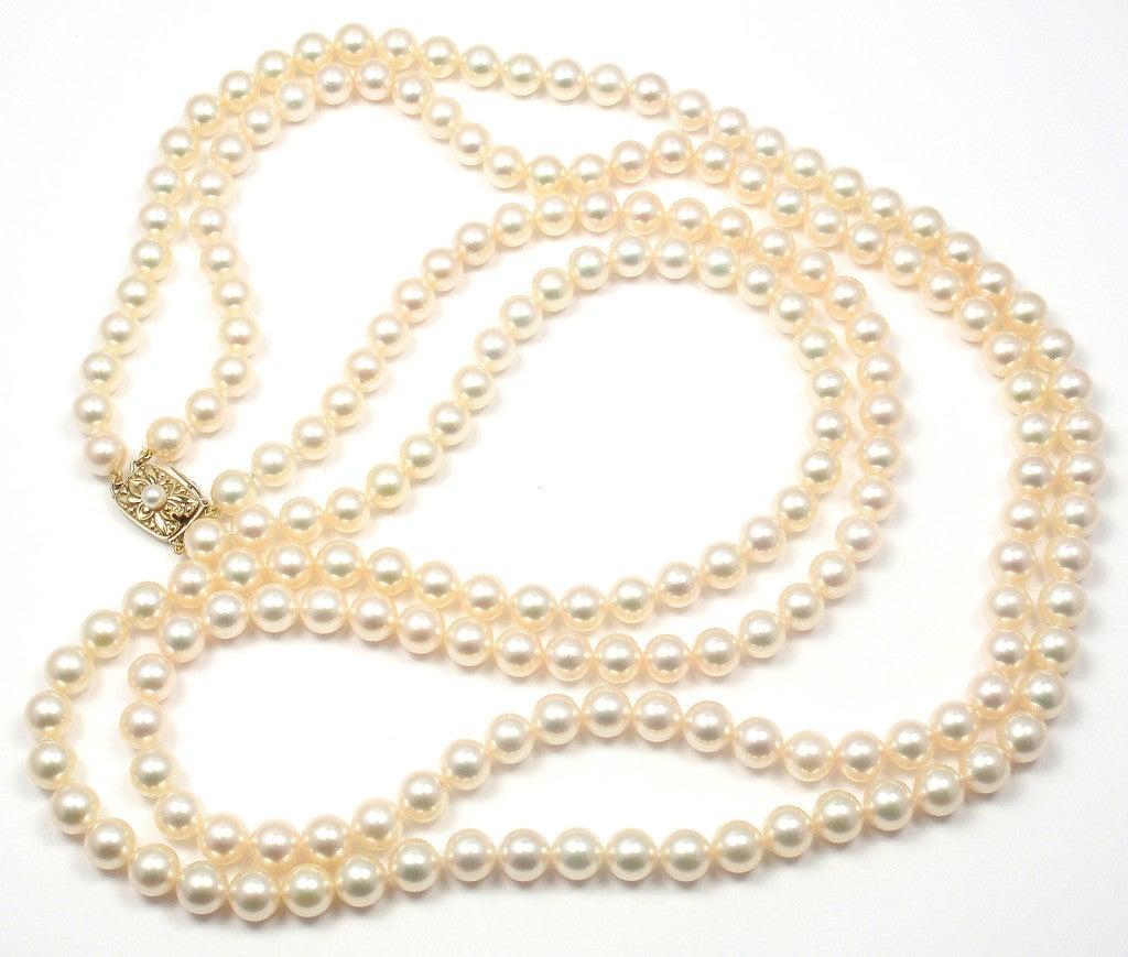 Mikimoto Pearls Necklace: MIKIMOTO Double Strand 197 Akoya Pearl Necklace Image 4