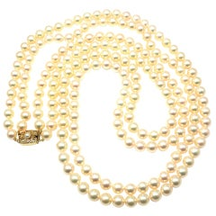 MIKIMOTO Double Strand 197 Akoya Pearl Necklace