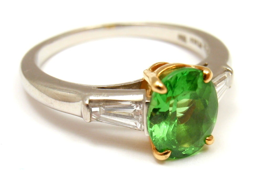 Tiffany And Co Tsavorite And Diamond Platinum Ring At 1stdibs