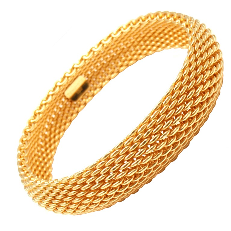 Tiffany And Co Somerset Wide Mesh Yellow Gold Bracelet At