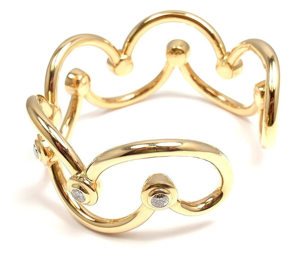 CHANEL Diamond Yellow Gold Cuff Bracelet For Sale 2
