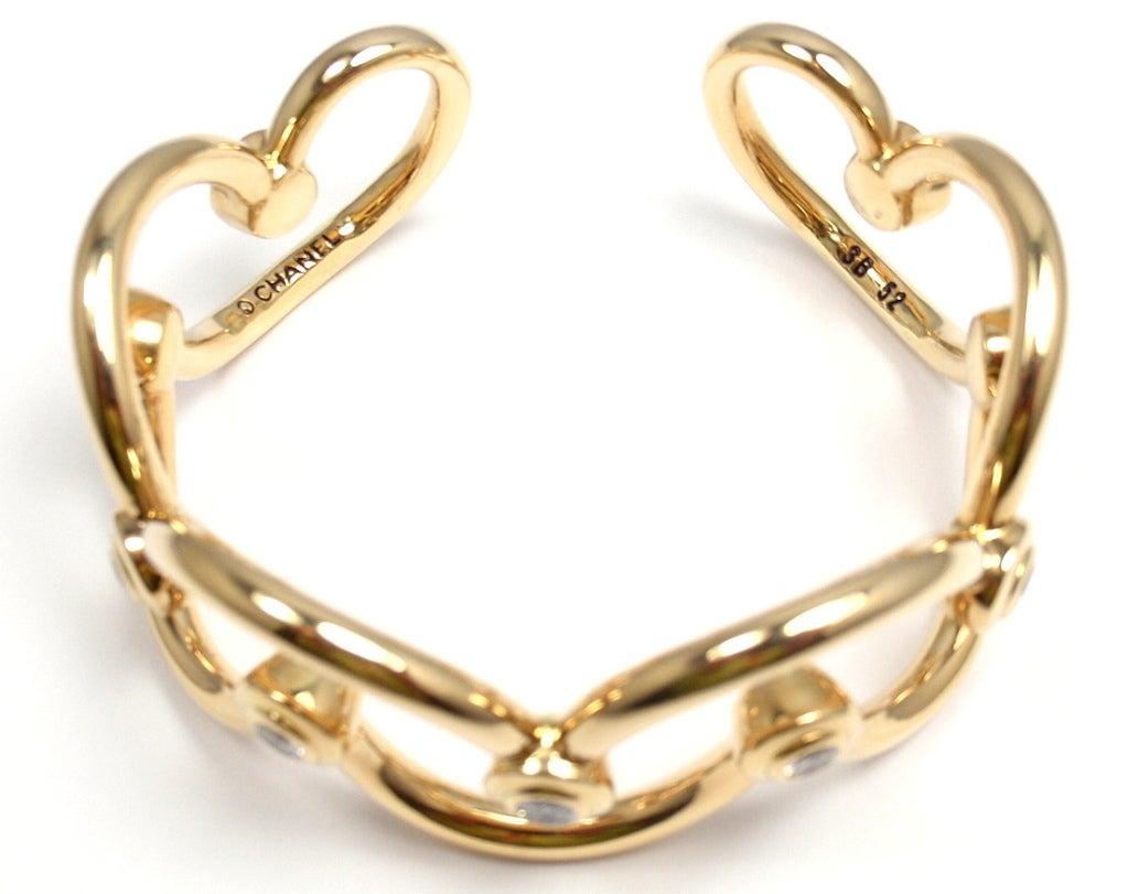 CHANEL Diamond Yellow Gold Cuff Bracelet For Sale 5