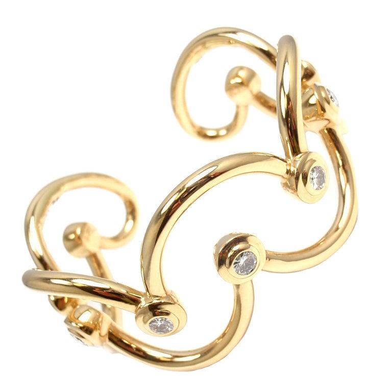 CHANEL Diamond Yellow Gold Cuff Bracelet For Sale
