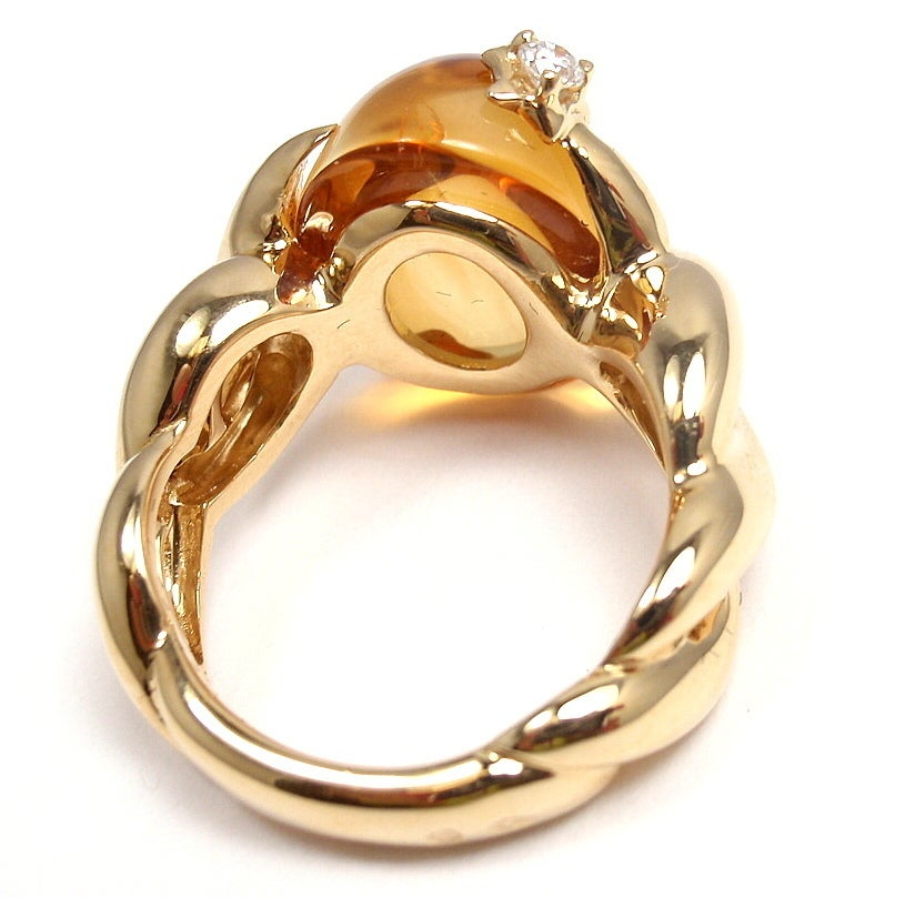 CHANEL Citrine Diamond Yellow Gold Ring 4