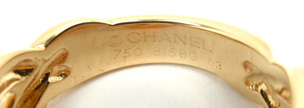 CHANEL Citrine Diamond Yellow Gold Ring 7