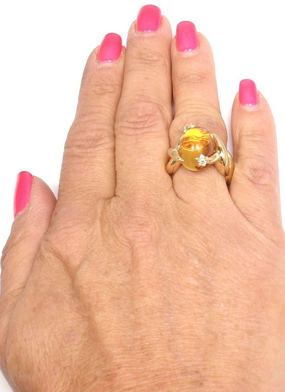CHANEL Citrine Diamond Yellow Gold Ring 9