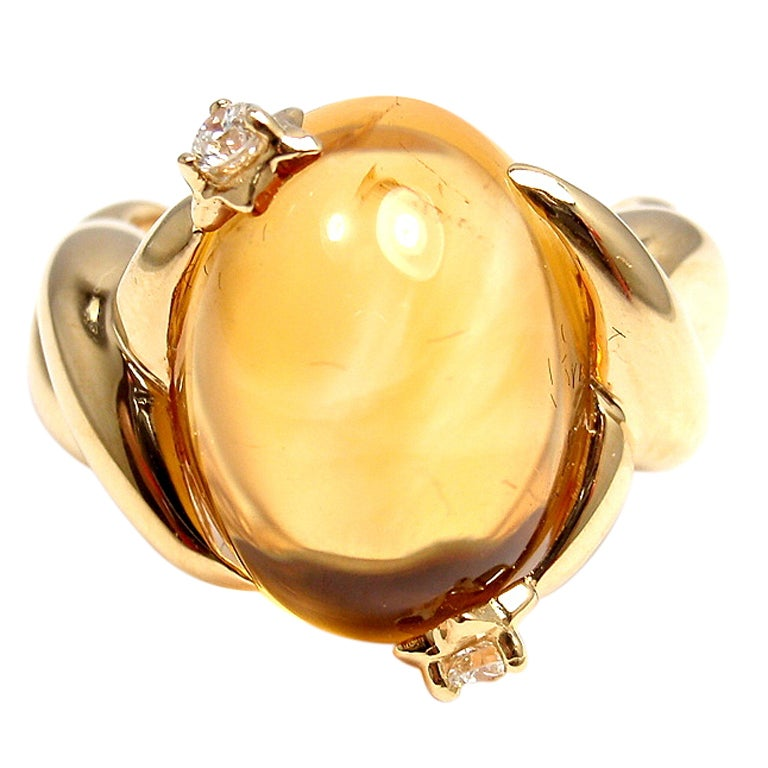 CHANEL Citrine Diamond Yellow Gold Ring