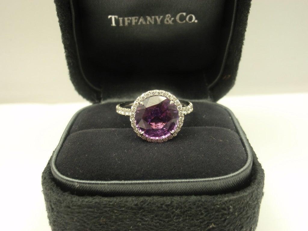 TIFFANY & CO. Purple Sapphire Diamond Platinum Ring image 6