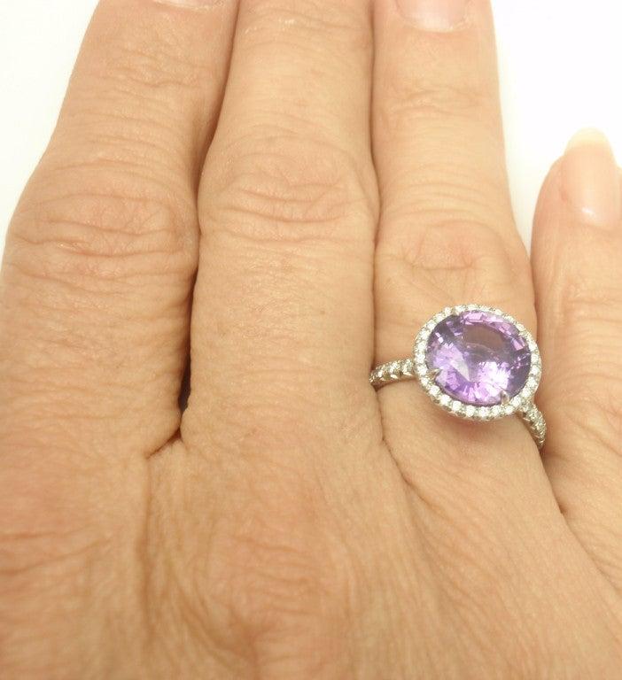 TIFFANY & CO. Purple Sapphire Diamond Platinum Ring image 8