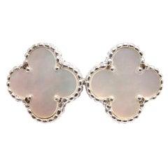 VAN CLEEF & ARPELS Vintage Alhambra White Gold Earring