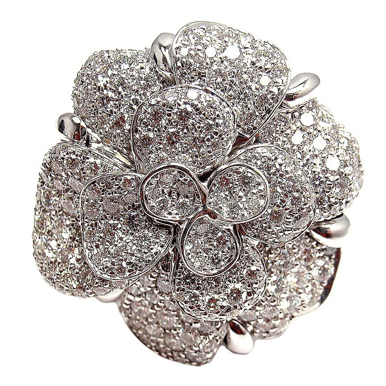 Chanel Diamond Large Camelia Flower White Gold Ring At 1stdibs