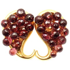 NICHOLAS VARNEY Garnet Briolette Paisley Yellow Gold Earrings