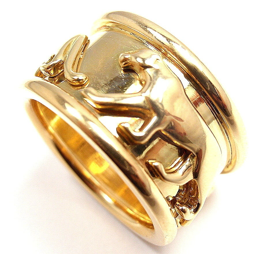 cartier quot walking panther quot yellow gold ring image 6