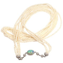 TIFFANY & CO Paloma Picasso Diamond Black Opal Pearl Necklace