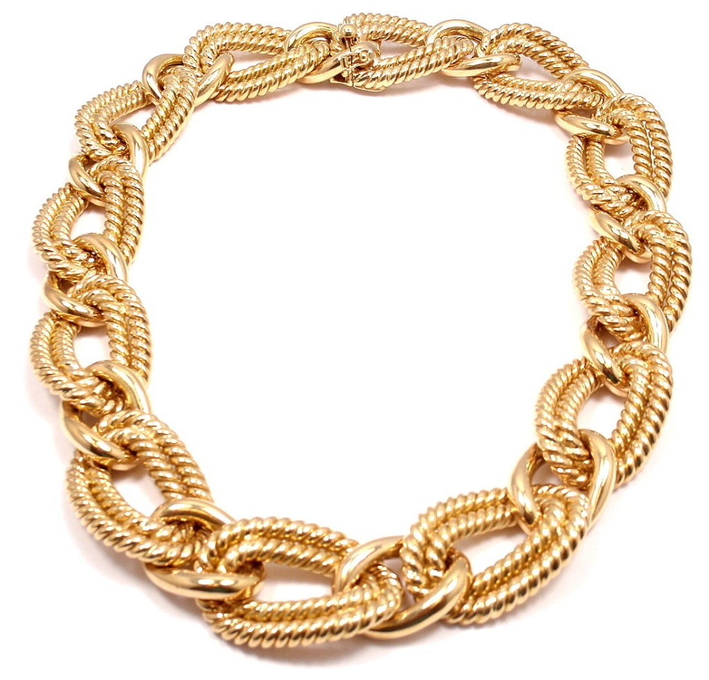 Verdura large nautical rope link yellow gold necklace at for Large nautical rope